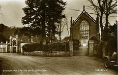 Old postcard of Church and Castle Gate, Cortachy, Kirriemuir (iainh124a) Tags: uk scotland angus tayside kirriemuir kirrie iainh124a