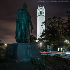 Columbus and Coit Tower (DSC03348) (Michael.Lee.Pics.NYC) Tags: sanfrancisco longexposure lightpainting statue night clouds square sony coittower telegraphhill christophercolumbus traffictrail lighttail voigtlanderheliar15mmf45 a7rm2