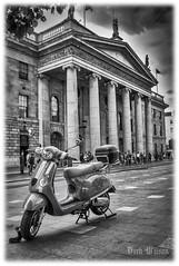 Scooter Boy (D.k.o.w) Tags: dublin ireland motorcycle scooter goldwing oconnellstreet gpobuilding mono blackandwhite bw black white street canon7dmkii