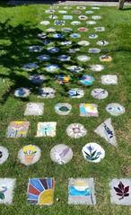 Yard art stepping stones (bottledale999) Tags: yard art stones grass outside garden sidewalk bricks lawn tile sun flowers leaf star heart yin yang turtle dragonfly landscape