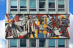 Haus des Lehrers / North frieze (Images George Rex) Tags: berlin architecture germany de deutschland mosaic modernism science frieze chemistry rocket publicart engineer offices hausdeslehrers surgeon socialistrealism hermannhenselmann ourlife socialistarchitecture teachershouse walterwomacka parabolicdish imagesgeorgerex photobygeorgerex