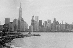 Paulus Hook view of NYC, Jersey City (forwardcameras) Tags: olympusom10 caffenolc kentmere100 35mm
