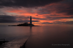 RED SKY IN THE MORNING, SAILORS WARNING  (EXPLORED) (lynneberry57) Tags: red sky lighthouse seascape colour beach nature sunrise canon landscape island coast flickr tide northeast causeway whitleybay stmaryslighthouse 70d leefilters