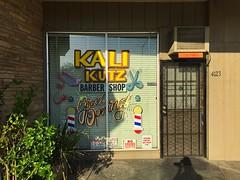 Kustom Kouture (misterbigidea) Tags: barber shop hair stylist grandopening sign window buzzcut kalikutz urban business morning neighborhood haircut