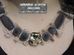 Lace Velvet Crystal Necklace 01b (zreekee) Tags: canada vintage goth jewelry thrift saskatchewan beadwork steampunk wirework sparkledoomdesigns