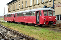 """172 601-7 & 172 001-0 """"Ferkeltaxe"""", Hafenbahn Neustrelitz (Thorsten Mothes) Tags: 209 ferkeltaxe blutblase eule 1726017 1720010 hafenbahnneustrelitz veb waggonbau bautzen dr deutschereichsbahn schienenbus sandmann lvt"""