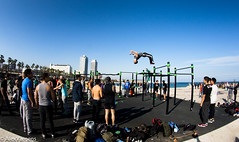 Barcelona Parkour (incrediblebarcelona) Tags: barcelona parkour beach seaside mediterraneo espaa sescape sunny flickr sky blue people city sport fisheye lens camera