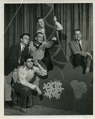 """Top Secret"" Cast Members, Hoof 'n' Horn, 1956 (Duke University Archives) Tags: musical cast theater actor set tropical hoofnhorn dukeuniversity durham nc palmtree island stage publicityphoto groupphoto pointing studentorganization"