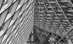 Seattle Central Library DSC04020-Edit (nianci pan) Tags: abstract seattle centrallibrary curve line pattern geometry geometric city cityscape landscape urban nianci pan sony sonyalpha dslr sonyphotographing architecture building reflection