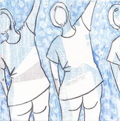 # 226 (13-08-2016) (h e r m a n) Tags: herman illustratie tekening bock oosterhout zwembad 10x10cm 3651tekenevent tegeltje drawing illustration karton carton cardboard goodbye farewell afscheid zwaaien wave vrouwen women back rug rucke ruggenfiguur ruckenfigur