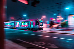 () Tags: los angeles trains downtown la street night photography city pan