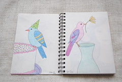 Sketchbook Birds (Ulixis) Tags: ulixis sketchbook draw colour birds sketch art feather fun whimsy whimsical floral flower party tea mug cute girl