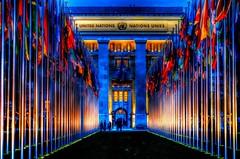 United Nations Office at Geneva L'Office des Nations Unies à Genève (Matthias Harbers) Tags: dxo photoshop topaz labs traveling hdr 3xp photomatix history building architecture europe 1sonyrx100cybershotnighteveninglightunflagsgenèveswitzerlandschweizgenfvereinte nationen