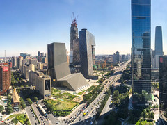 CBD with CCTV (China Chas) Tags: 2016 beijing cbd cctv china iphone architecture engineering skyline oma ffc fortuneplaza photostitch