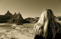 ...Badlands, South Dakota... (lindini2) Tags: sepia badlands southdakota blonde hair rock formations geology