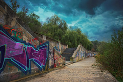 Embankment of the river (rgbshot72) Tags: autumn trees sky city water river blue clouds architecture tree colors green stairs embankment graffiti morning nikon d800e landscapes