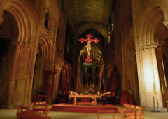 Peterborough Cathedral (Travis Pictures) Tags: peterborough peterboroughcathedral stpeterscathedral night nighttime nightlights cathedral church churchofengland dark city citycentre eastanglia england uk britain nikon d5200 photoshop tiltshift crucifix candlelight