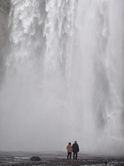 Red Shoes and Waterfalls (Feldore) Tags: skgafoss waterfall iceland icelandic water couple standing powerful feldore mchugh em1 olympus 1240mm red shoes falling nature