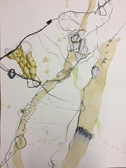 Networking, Zeichnung, 2016 (Ellen Ribbe) Tags: drawing paper papier bleistift neocolor graphit abstract abstrakt kaffee coffee