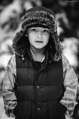 Black and White Challenge Day #5 (Michael  Hunter) Tags: boy portrait bw hat lens nikon child challenge trapper d800 70200mm f28g vsco wwwmichaeljhuntercom vscofilm
