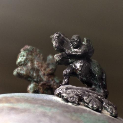 Bronze Negau-type helmet from the Tomb of the Warrior, Osteria Necropolis, Vulci: detail