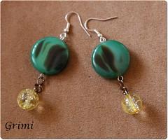 Orecchini con agata verde e cristallo crack (grimibijoux) Tags: verde giallo agata cristallo orecchini pendenti