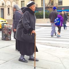 Old woman on the corner (Ed Yourdon) Tags: newyork cane manhattan oldwoman iphone iphone6 iphone6plusbackcamera415mmf22