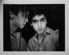 double self portrait (n_sollohub) Tags: portrait blackandwhite white black mamiya self polaroid exposure double rb67