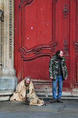 On the cathedral steps (laskaproject) Tags: street door city red dog france building men church beautiful stone architecture arch cathedral homeless rhône medieval rhônealpes