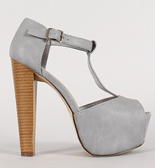 "leatherette buckle t strap peep toe gray • <a style=""font-size:0.8em;"" href=""http://www.flickr.com/photos/64360322@N06/16325603626/"" target=""_blank"">View on Flickr</a>"