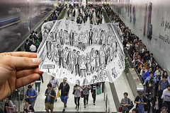Pencil Vs Camera (Study in Hong Kong Subway) (Ben Heine) Tags: china camera wedding people woman dog art love public pencil paper subway photography hongkong sketch vanishingpoint hug asia hand heart emotion metro drawing walk crowd transport group perspective creative samsung coeur exhibition dessin lovers study illusion together galaxy posters prints imagination universal foule mariage humanrights celebrate ensemble hold feelings packed crowded gather saintvalentine copyrighted womensday augmentedreality artprints rassemblement hongkongsubway saintvalentinesday artposter workersday metroboulotdodo ralitaugmente canonmarkii benheineart heartshapedpeople pencilvscamera