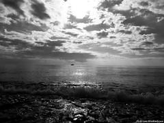 Sky & Sea - B&W (ibrahim.koyun) Tags: sea sky bw cloud sun white black beach rock turkey day ship türkiye wave antalya deniz alanya tekne gemi turkei dalga alaiye