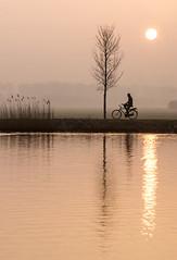 Morning light (genf) Tags: morning sun sunlight mist reflection amsterdam misty sunrise river early mood cyclist sony zon amstel ochtend zonlicht zonsopgang a77 weerspiegeling fietser ouderkerk rivier sfeer vroege