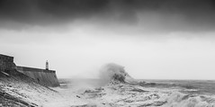 St Davids Day storm (Tim Bow Photography) Tags: blackandwhite cloud lighthouse seascape storm wales clouds pier rocks windy stormy british welsh seafront raining swell darkclouds porthcawl stormwaves startofspring timboss81 timbowphotography wildukweather spring2015 stdavidsdaystorm