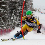 Ryan Moffat (Big White Racers) at U18 Nationals in Nakiska - starts 50th, comes 8th in slalom PHOTO CREDIT: Derek Trussler