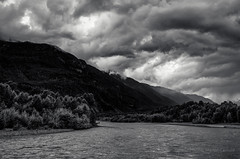Storm, Squamish River (martincarlisle) Tags: trees sky blackandwhite canada mountains monochrome clouds wow britishcolumbia rivers storms squamish brackendale nwn highway99 squamishriver niksoftware governmentroad pentaxians tamronlenses colourefex pentaxart pentaxk5 silverefexii sestoskyhighway