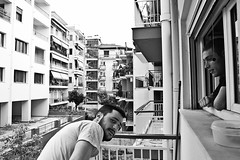 () Tags: road city friends portrait urban blackandwhite bw building male home window monochrome face architecture buildings looking apartment greece ioannina