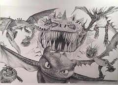 How to train your Dragon. Dragons (www.kevinmaxwellsfineart.com) Tags: dragons hiccup toothlessnightfury snotlout hookfang monstrousnightmare ruffnuttuffnut barfbelch hideouszippleback astrid stormily deadlynadderfishlegsmeatluggroncklescreaming death drawing surreal sketch