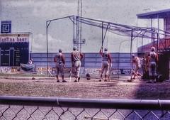 Hangin' at the Cage (podolux) Tags: mlb baseball majorleaguebaseball philadelphia phillies conniemackstadium philadelphiapa philly stadium ballpark people snapseed postprocessing scannedslide 1960s 1960sera reds cinconnatireds battingpractice groundlevel