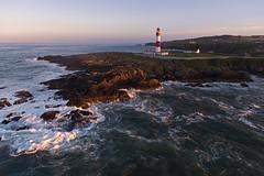Buchan Ness from the air (iancowe) Tags: sunset lighthouse rock evening scotland rocks waves aberdeenshire scottish stevenson buchan ness drone peterhead northernlighthouseboard buchanness nlb boddam
