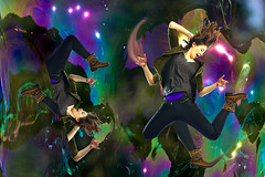 Quantum Jumper (lisaleo2) Tags: woman distortion stars jump energy transformation arms legs distorted surrealism surreal fantasy surrealist limbs leap multicolor quantum multiplication dimensions digitalcollage subatomic quantumphysics multidimensional quantummechanics