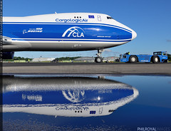 Reflections on Boeing (zoomerphil) Tags: blue reflection plane anniversary echo jet aeroplane cargo 100th boeing 747 cargoplane 7478 747800 7478f 747800f
