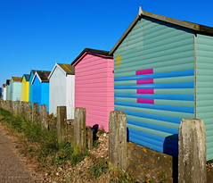 Summer Colours (Janet - West Sussex) Tags: beach sussex beachhuts adurvalley