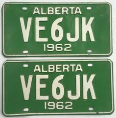 ALBERTA 1962 ---AMATEUR RADIO PLATE PAIR #VE6JK (woody1778a) Tags: alberta albertahistory hamoperator npcc196 alpca1778 registrationplate numberplate licenseplate amateurradio canada