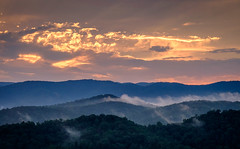 View from Three Bears Bluff - Fire on the Mountain. (Mr. Pick) Tags: sunset mountains cherrylog ga georgia north sky blueridge blue hour golden
