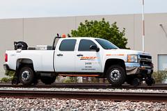 BNSF Chevrolet Silverado Hi Rail (jbp274) Tags: fullerton trains railroad tracks bnsf burlingtonnorthernsantafe pickup truck chevrolet silverado hirail