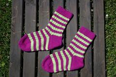 Yellow and pink striped socks (II) (dididumm) Tags: socks yellow pink striped stripy wool knit knitting handcraft selfmade handarbeit selbstgemacht stricken wolle stricksocken socken gestreift geringelt gelb