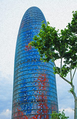 Barcelona : Torre Agbar from close . . . (Clement Tang **) Tags: spring spain espania travel europe nationalgeographic oilpaintingfilter closeup architecture barcelona building tree mistysky torreagbar avingudadiagonal carrerbadajoz plaadelesglriescatalanes catalonia scenicsnotjustlandscapes skyscraper tower theshell elsupositori