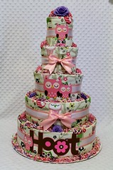 Pink owls baby diaper cake shower centerpiece gift (2) (Dianna's Diaper Cakes) Tags: baby diaper cakes shower centerpieces gifts boys girls neutral diannas decoration