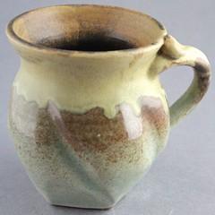 Garlic Gentlemen's Mug (Ryan McCullen) Tags: mug cup coffee tea coffeecup coffeemug teacup garlic ashglaze clay ceramic stoneware pottery handmade wheel wheelthrown functional home green yellow